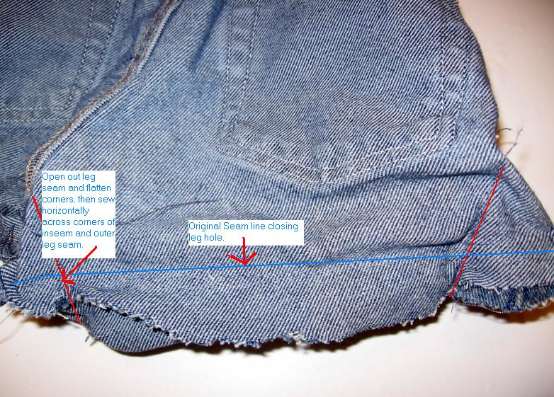 Sew horizontal seam on inseam and outer leg seam